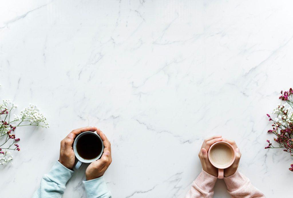Coffee mugs together aerial