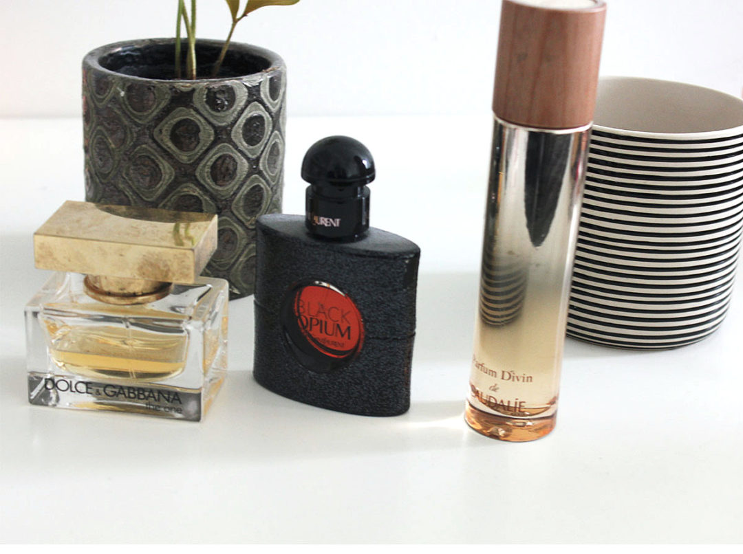 Top Three Winter Perfumes Caudalie Parfum Divin Yves Saint Laurent Black Opium Dolce and Gabbana The One