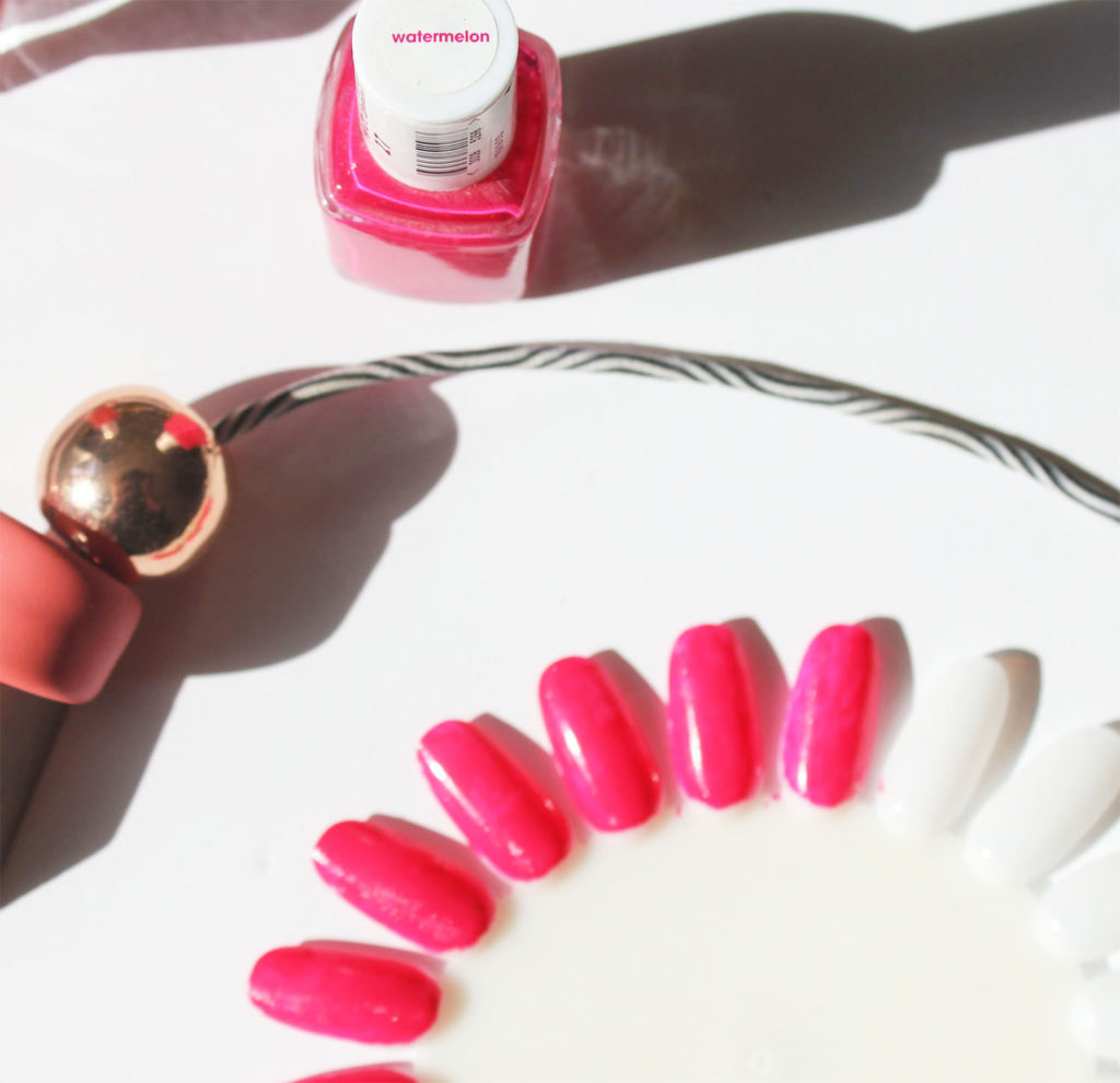 Essie watermelon nail polish swatch