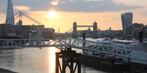 Sun setting over Tower Bridge